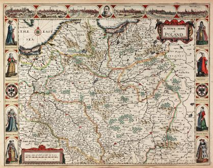 Antique Maps, Speed, Poland, 1626: A Newe Mape of Poland Done into English by I. Speede