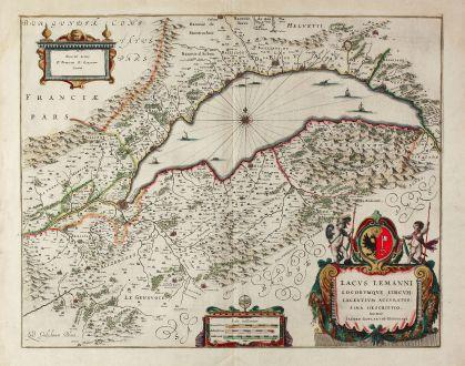 Antike Landkarten, Blaeu, Schweiz, Genfersee, 1635: Lacus Lemanni Locorumque Circumiacentium Accuratissima Descriptio. Auctore Iacobo Goulartio Genevensi.