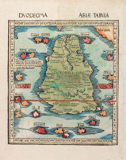 Antique Maps, Waldseemüller, India, Ceylon, Sri Lanka, Taprobana: Duodecima Asiae Tabula