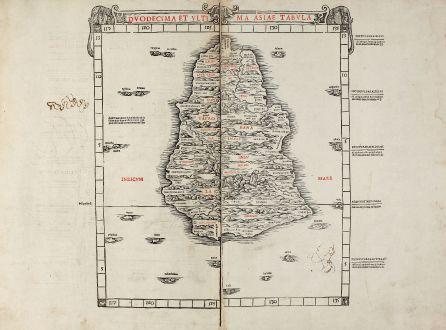 Antike Landkarten, Sylvanus, Indien, Ceylon, Sri Lanka, Taprobana, 1511: Duodecima et ultima Asiae tabula