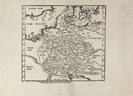 Antique Maps, Fries, Germany, 1535: [Tab. Mo. Germa.]