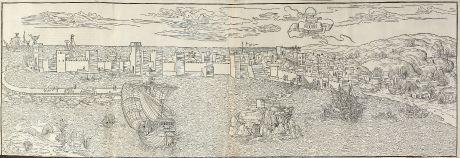 Antike Landkarten, von Breydenbach, Griechenland, Peloponnese, Methoni, 1486: Modon