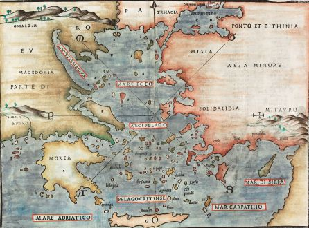 Antique Maps, Bordone, Greece, Aegean Sea, Cyprus, 1528: [Aegean Sea. Greece & Turkey] untitled
