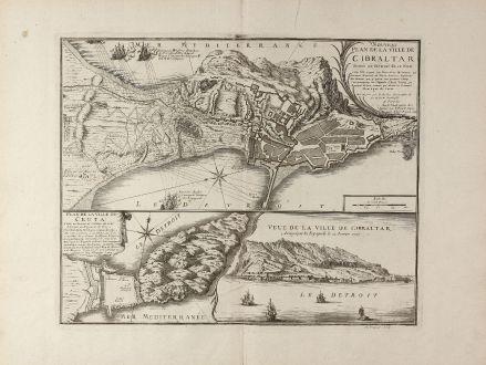 Antike Landkarten, de Fer, Spanien - Portugal, Gibraltar, Ceuta, 1727: Nouveau Plan de la Ville de Gibraltar / Plan de la Ville de Ceuta / Veue de la Ville de Gibraltar