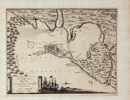 Antike Landkarten, Beek, Spanien - Portugal, Cadiz, 1700: La Ville des Cadix, avec sa Baye, et les Isles d'enveron. Anna Beek avec Previlege.