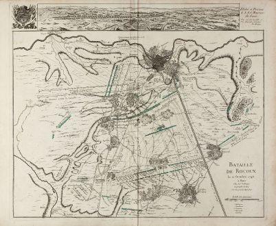 Antique Maps, le Rouge, Belgium, Liege, 1746: Bataille de Rocoux le 11. Octobre 1746 / Dedie et Presente a S.A.S. Maurice de Saxe. Par son tres humble et tres obeissant...