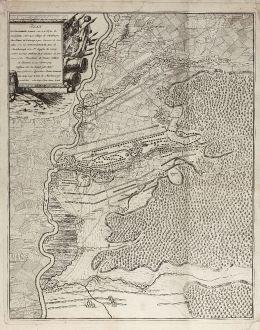 Antike Landkarten, Beek, Deutschland, Höchstädt, Blindheim, 1704: Plan de la Battalie Ganiee sur la Plesne de Hochstette entre les villages de Plintheym Oberklauw et Lutzingen ... le 13 Aout...