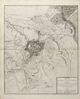 Antique Maps, le Rouge, Belgium, Mons, 1744: Plan de Mons et des Environs. A Paris Par, et chez le Sr. le Rouge ...