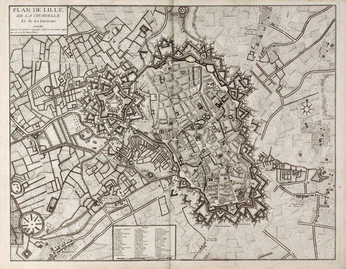 Plan de Lille, de la Citadelle Et de ses Environs. A Paris chez le Rouge - le Rouge, 1740