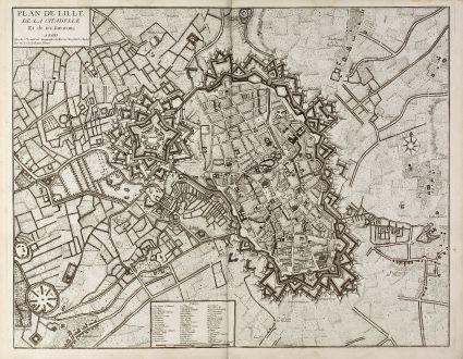 Antique Maps, le Rouge, France, Lille, 1740: Plan de Lille, de la Citadelle Et de ses Environs. A Paris chez le Rouge ...