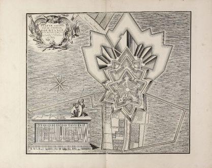 Antike Landkarten, Covens and Mortier, Niederlande, Groningen, Bourtange, 1742: Platte Grond va de Fortresse Bourtange ten Jare 1742 Nauwkeurig opgenomen. te Amsterdam By Covens en Mortier.