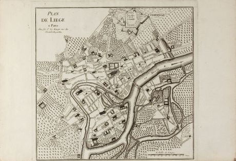 Antique Maps, le Rouge, Belgium, Liege, 1745: Plan de Liege a Paris chez le Sr Le Rouge ...