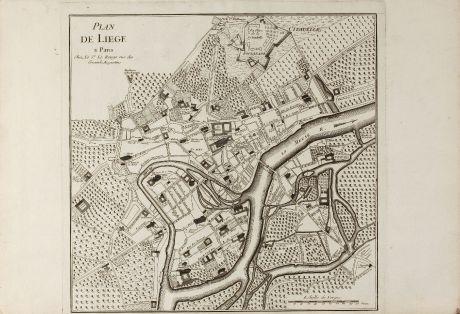 Antique Maps, le Rouge, Belgium, Liege, 1745: Plan de Liege a Paris chez le Sr Le Rouge ...