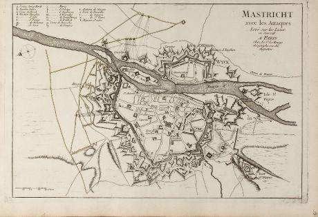 Antique Maps, le Rouge, Netherlands, Maastricht, 1748: Mastricht avec les Attaques Leve sur les Lieux en Juin 1748. A Paris chez Le Sr. Le Rouge ...