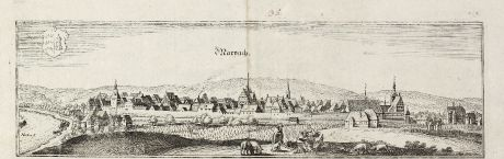Antique Maps, Merian, Germany, Baden-Wurttemberg, Marbach, 1643: Marpach