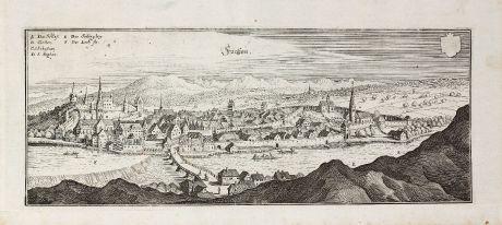 Antike Landkarten, Merian, Deutschland, Bayern, Allgäu, Füssen am Lech, 1643: Füeßen