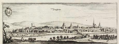 Antique Maps, Merian, Germany, Baden-Wurttemberg, Besigheim, 1643: Besigheim