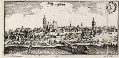Antike Landkarten, Merian, Deutschland, Baden-Württemberg, Bietigheim-Bissingen: Bietigtheim