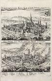 Antike Ansicht von Isny, Allgäu, Bayern. Gedruckt bei M. Merian um 1643 in Frankfurt.