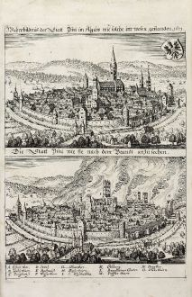 Antique Maps, Merian, Germany, Bavaria, Allgäu, Isny, 1643: Wahre bildnuß der Statt Ysny im Algäw wie solche im wesen gestanden 1631. / Die Statt Ysni wie sie nach dem Brandt...