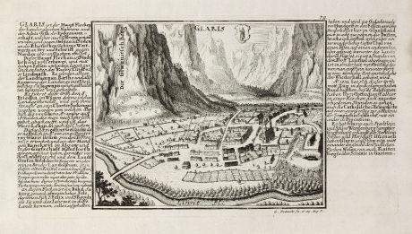 Antike Landkarten, Bodenehr, Schweiz, Glarus, 1704: Glaris
