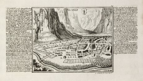 Antique Maps, Bodenehr, Switzerland, Glarus, 1704: Glaris
