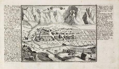 Antike Landkarten, Bodenehr, Schweiz, Appenzell, 1704: Appenzell