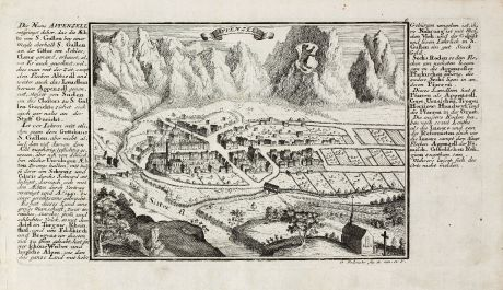 Antique Maps, Bodenehr, Switzerland, Appenzell, 1704: Appenzell
