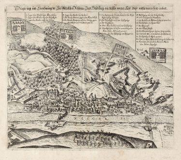 Antique Maps, Bellus, Germany, Baden-Wurttemberg, Heidelberg, 1627: Belagerung und Einnehmung der Chur Pfaltzischen Residens Stadt Heydelberg, wie dieselbe von den Kays: Bayr: mit stürmender...