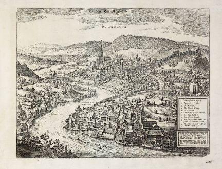 Antike Landkarten, Merian, Schweiz, Baden, 1640: Baden Im Argöw. Baden Argoiae