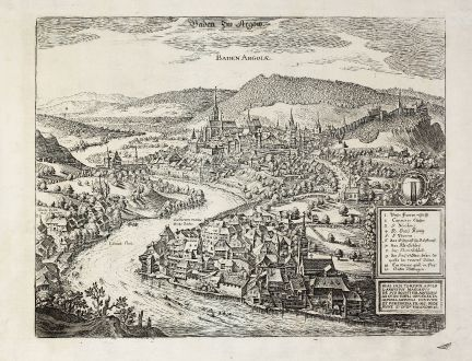 Antique Maps, Merian, Switzerland, Baden, 1640: Baden Im Argöw. Baden Argoiae