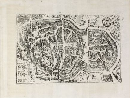 Antique Maps, Merian, Switzerland, St. Gallen, 1640: S. Gallen.