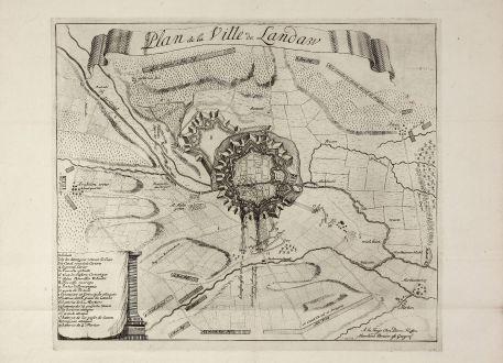Antike Landkarten, Husson, Deutschland, Rheinland-Pfalz, Landau, 1705: Plan de la Ville de Landaw