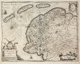 Antique map of West-Friesland. Printed in Amsterdam by Henricus Hondius circa 1630.