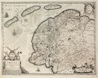 Antique Maps, Hondius, Netherlands, West-Friesland, 1630: Frisia Occidentalis Auctoribus Adriano Metio et Gerardo Freitag.