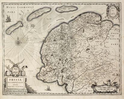 Antike Landkarten, Hondius, Niederlande, Westfriesland, 1630: Frisia Occidentalis Auctoribus Adriano Metio et Gerardo Freitag.