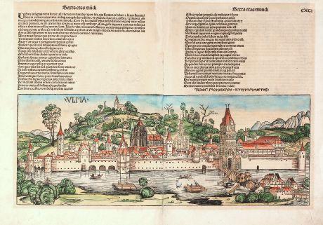 Antike Landkarten, Schedel, Deutschland, Baden-Württemberg, Ulm, 1493: Ulma