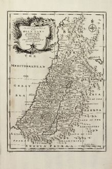 Antique Maps, Bowen, Holy Land, Israel, Holy Land, 1747: An Accurate Map of the Holy Land Divided into the XII Tribes of Israel. Accomodated to Sacred History & Describing the...