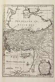 Antike Landkarten, Bowen, Türkei, 1747: An Accurate Map of Asia Minor, as Divided into its Provinces, before it became Possess'd by the Turks.