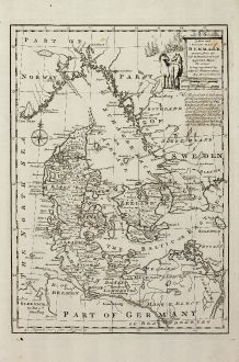 Antike Landkarten, Bowen, Skandinavien, Dänemark, 1747: A New and Accurate Map of Denmark ...