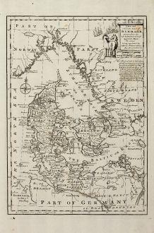Antike Landkarten, Bowen, Skandinavien, Dänemark, 1747: A New and Accurate Map of Denmark ...