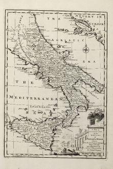 Antike Landkarten, Bowen, Italien, Sizilien, Neapel, 1747: A New & Accurate Map of the Kingdoms of Naples & Sicily ...