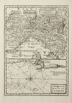 Antike Landkarten, Bowen, Italien, Norditalien, Seekarte Livorno, 1747: A New and Accurate Map of the Northern Parts of Italy ... / A Draught of the Road of Leghorn