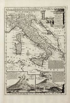 Antike Landkarten, Bowen, Italien, Vesuv, 1747: A New and Accurate Map of Italy Drawn from the Latest and Best Authorities, and Regulated by the Most Approved Astronl....