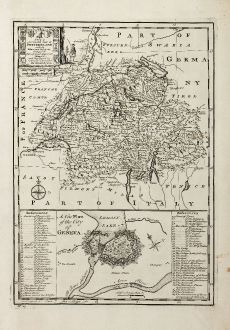 Antike Landkarten, Bowen, Schweiz, Genf, 1747: A New & Accurate Map of Switzerland with its Allies and Subjects, Composed from ye Most Approv'd Maps &c. and Regulated by...