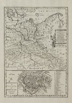 Antike Landkarten, Bowen, Polen, Schlesien, Breslau, 1747: A New & Accurate Map of the North East Part of Germany Containing the Dominions of the Electors of Saxony & Brandenburg with...