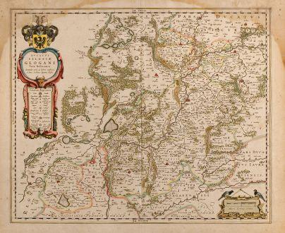 Antike Landkarten, Blaeu, Polen, Schlesien, Glogau, 1650: Ducatus Silesiae Glogani Vera Delineatio