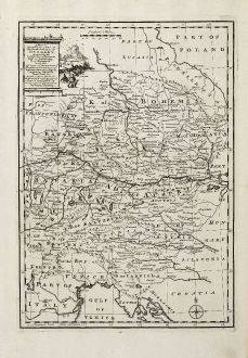 Antike Landkarten, Bowen, Deutschland, 1747: A New & Accurate Map of the South East part of Germany ...