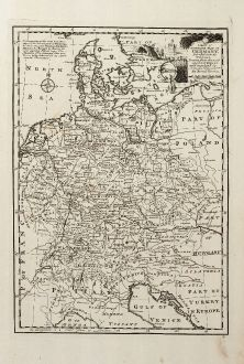 Antike Landkarten, Bowen, Deutschland, 1747: A New & Accurate Map of Germany, Divided into its Circles ...