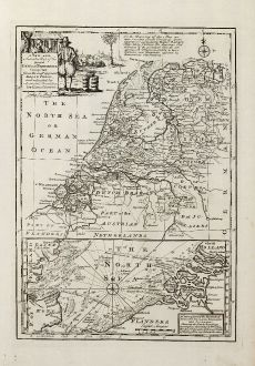 Antike Landkarten, Bowen, Niederlande, Sieben Vereinigten Provinzen, 1747: A New and Accurate Map of the Seven United Provinces Compiled from the Most Approv'd Maps & Charts, and Adjusted by...